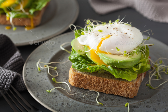 breakfast toast with avocado, poached egg and alfalfa sprouts - Stock Photo - Images