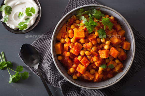 sweet potato and chickpea curry - Stock Photo - Images