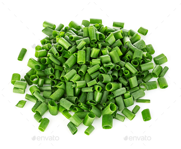Chopped green onions close-up isolated on a white background. - Stock Photo - Images