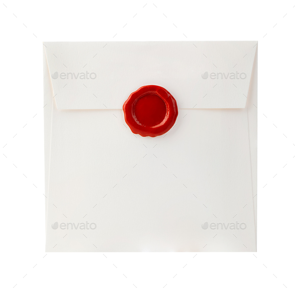 Mail envelope with red wax seal close-up isolated on a white background. - Stock Photo - Images
