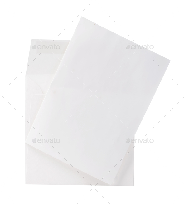 Mail envelope with letter close-up isolated on a white background. - Stock Photo - Images