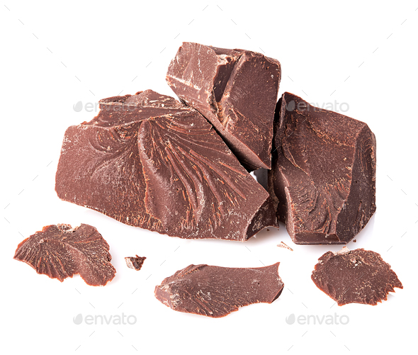 Chocolate pieces close-up isolated on a white background. - Stock Photo - Images