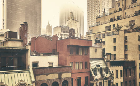 New York City old residential buildings on a rainy day. - Stock Photo - Images