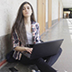 Student Girl in University with Laptop - VideoHive Item for Sale