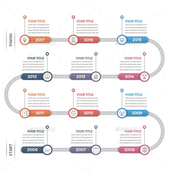 Timeline Infographics (12 Steps) - Infographics