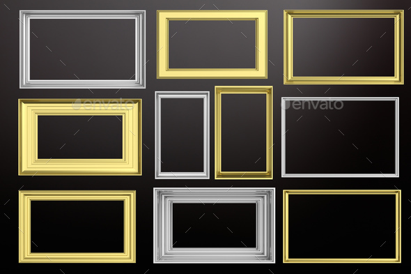Frames golden and silver isolated on black background copy space, 3d illustration - Stock Photo - Images