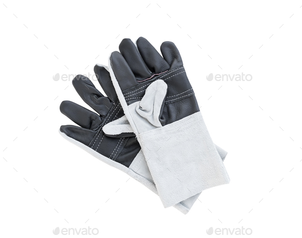 Leather gloves for welding-3 - Stock Photo - Images