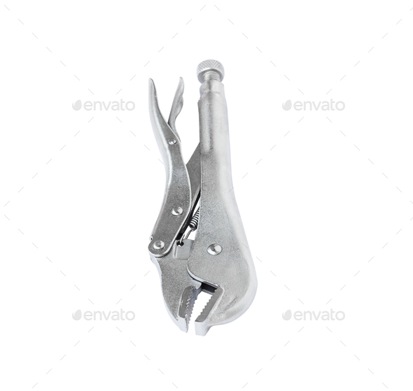 Locking pliers on white background-2 - Stock Photo - Images