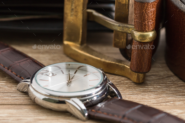 Wristwatch and brown leather belt-2 - Stock Photo - Images