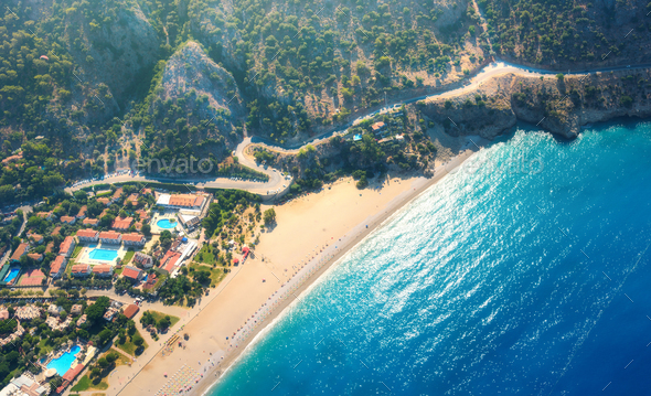 Aerial view of sandy beach in Oludeniz, Turkey. Summer landscape - Stock Photo - Images