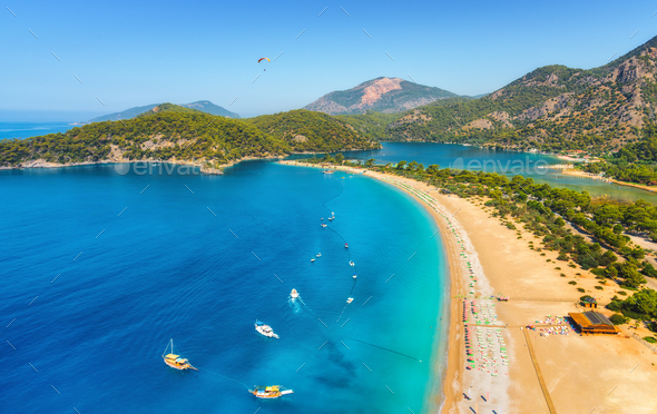 Amazing aerial view of Blue Lagoon in Oludeniz, Turkey - Stock Photo - Images