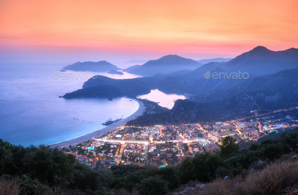 Beautiful Oludeniz at night in Turkey in summer. Landscape - Stock Photo - Images