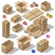 Vector 3d Isometric Set of Cardboard Packaging