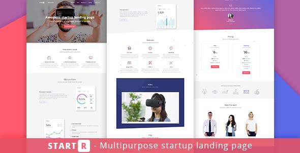 Startr – Multipurpose Startup Landing Page