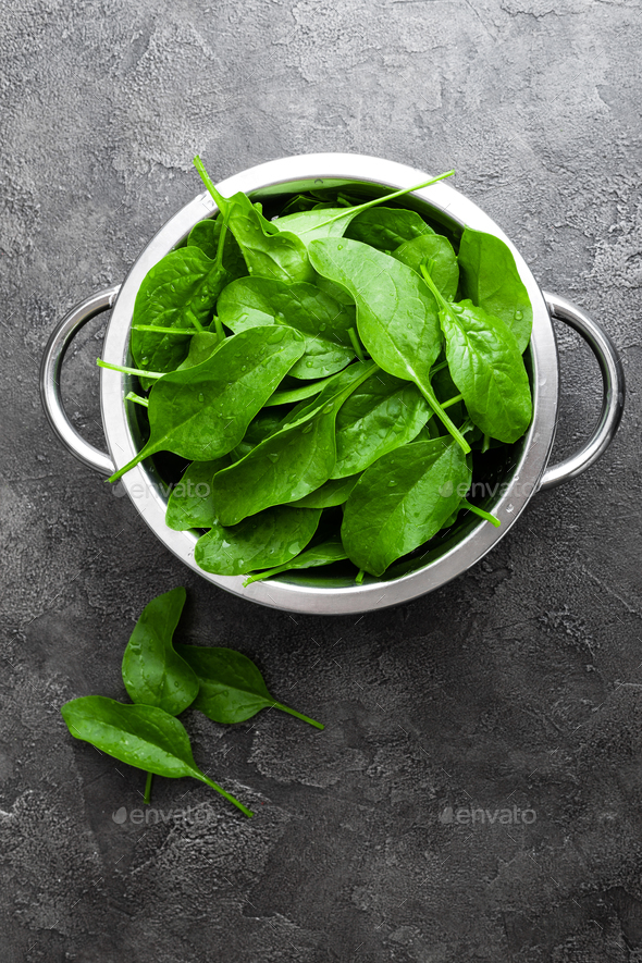 Spinach. Fresh spinach leaves - Stock Photo - Images