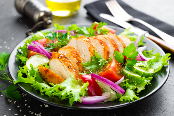 Salad with chicken meat - Stock Photo - Images
