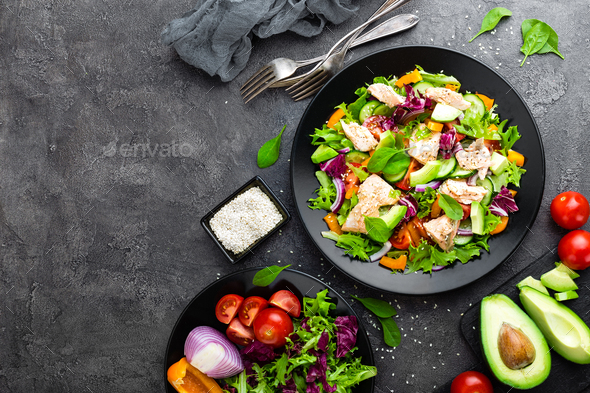 Salad with fish. Fresh vegetable salad with salmon - Stock Photo - Images