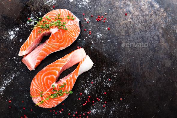 Salmon. Fresh salmon fish. Raw salmon fish steaks - Stock Photo - Images