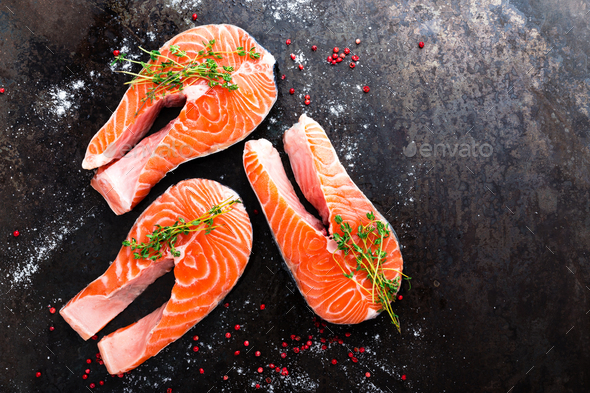 Salmon. Fresh salmon fish. Raw salmon fish steaks - Stock Photo - Images