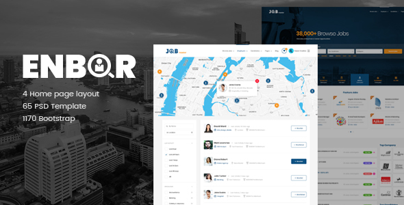 Enbor - Job Board PSD Template - Corporate PSD Templates