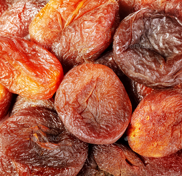 Close up picture of dried organic apricots. - Stock Photo - Images
