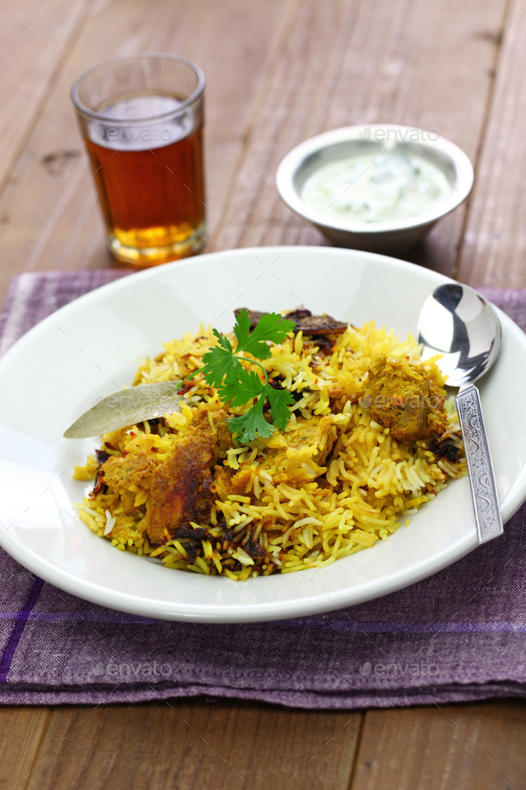 hyderabadi chicken biryani, indian cuisine - Stock Photo - Images