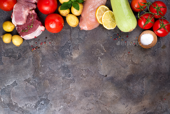Healthy food selection Including Certain Protein Prevents Cancer: meat, spice, vegetable - Stock Photo - Images