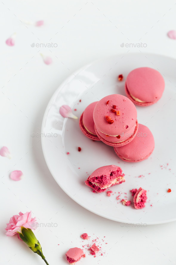 Beautiful Pink Macarons  - Stock Photo - Images