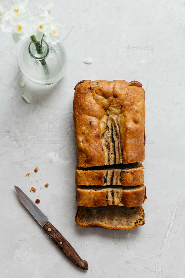 Banana Bread on Marble Table - Stock Photo - Images