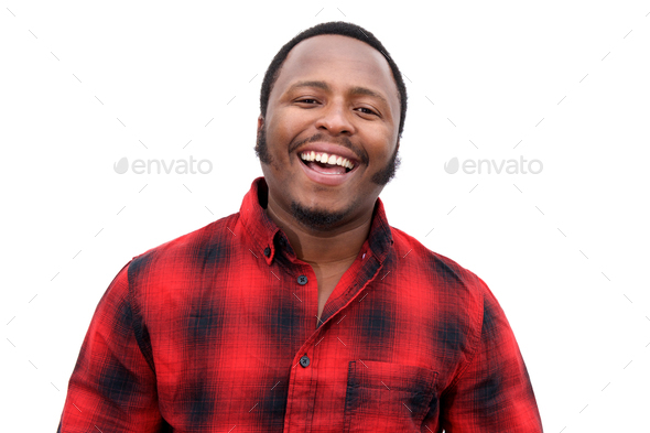 Close up laughing young african american man - Stock Photo - Images