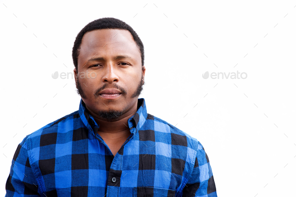 chubby african american man staring - Stock Photo - Images