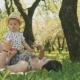 Happy Smiling Mother with Cute Son on Picnic Under Big Tree. Family Concept - VideoHive Item for Sale