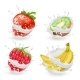 Vector Set of Fruits and Berries in Milk Splashes