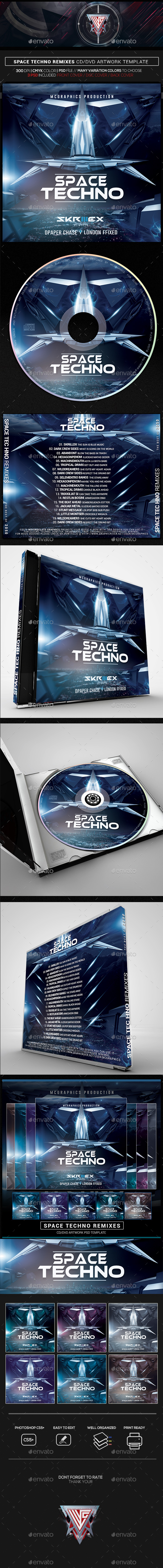 Space Techno Photoshop CD/DVD Template - CD & DVD Artwork Print Templates