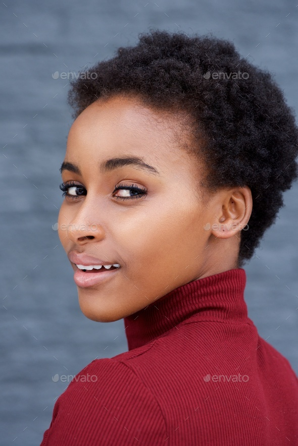 portrait of beautiful young african american woman - Stock Photo - Images