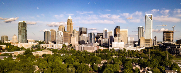 Aerial View Long Panoramic Shot of Charlotte North Carolina Downtown - Stock Photo - Images
