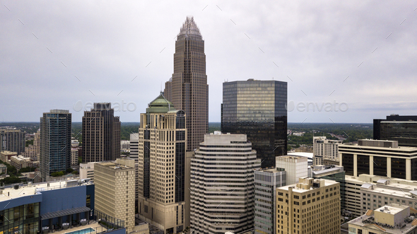 Aerial View in close between the buidlings of Charlotte North Carolina - Stock Photo - Images