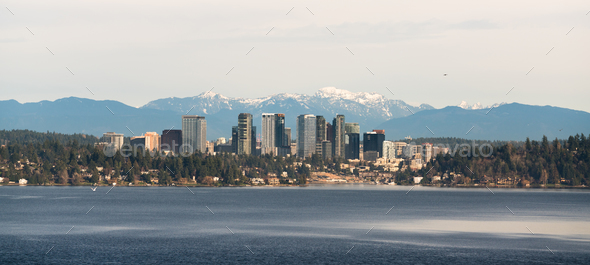 View Across Lake Washington to Bellevue Downtown City Skyline - Stock Photo - Images