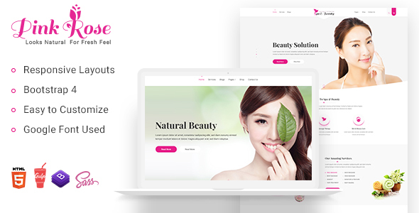 Pink Rose Spa and Beauty Salon  Bootstrap-4 HTML5 Template