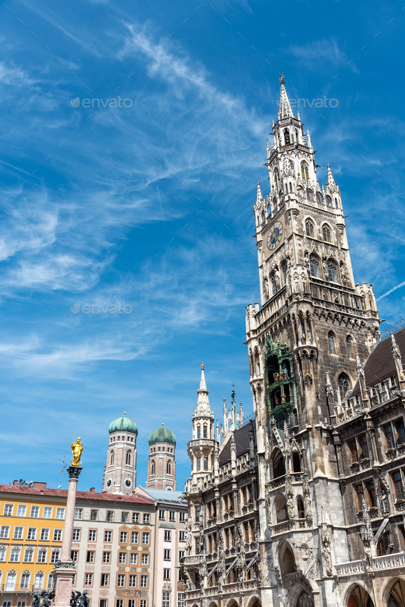 The New City Hall at the Marienplatz in Munich - Stock Photo - Images