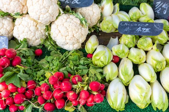 Radish, cauliflower and chicory - Stock Photo - Images