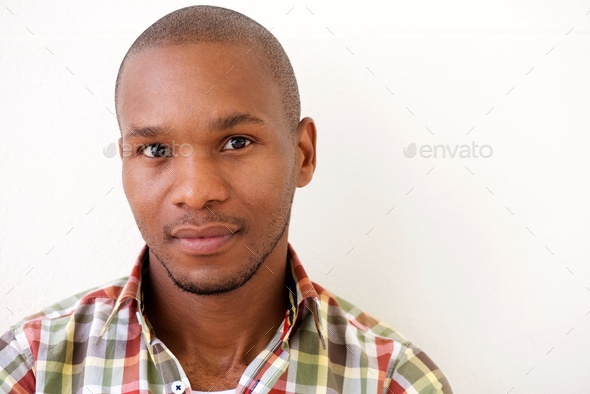 young african american man against white background - Stock Photo - Images