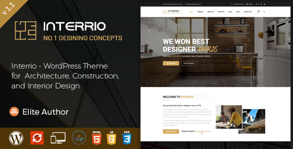 Interrio – WordPress Theme for Architecture, Construction and Interior Design - Business Corporate