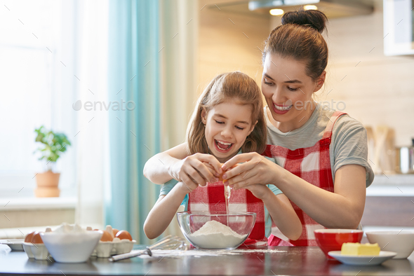 Happy family in the kitchen. - Stock Photo - Images