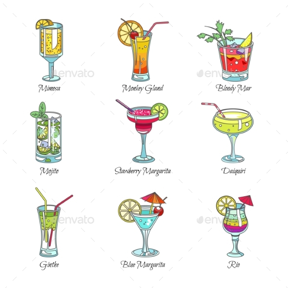 Cocktails in Glasses Exotic Drinks Vector Sketch - Food Objects