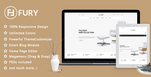 Image of Fury - Clean Furniture Design Responsive Prestashop 1.7 Theme