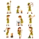 Boy Scouts Set, Boys in Scout Costumes with Hiking