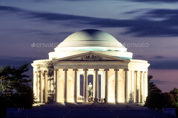 People Still Walk the grounds at the Jefferson Memorial in Washington - Stock Photo - Images