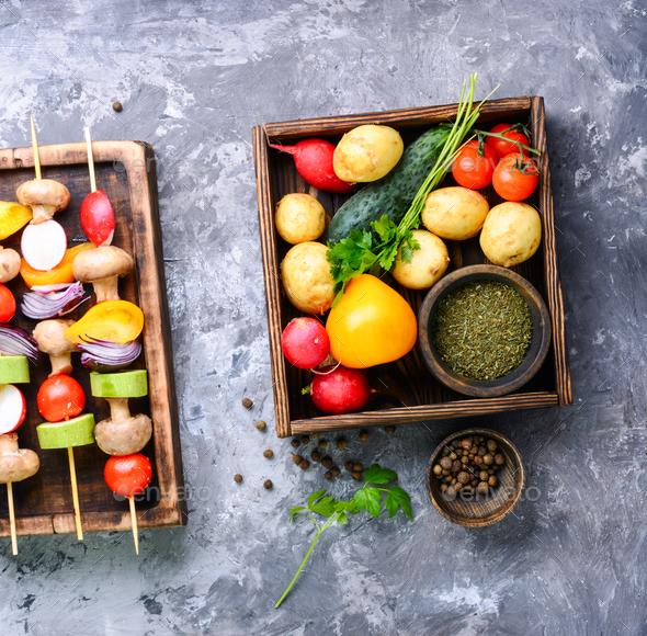 Kebabs,vegetables on skewer - Stock Photo - Images