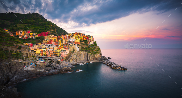 Sunset over Manarola, Cinque Terre, Italy - Stock Photo - Images